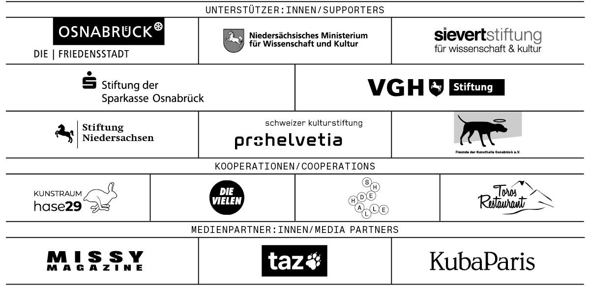Logos der Sponsor:innen und Medienpartner:innen der Kunsthalle.